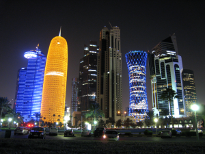 Doha Skyline from The Corniche. Photo by Mark Pegrum, 2013. May be reused under CC BY 3.0 licence.