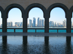 Doha Skyline seen from the Museum of Islamic Art. Photo by Mark Pegrum, 2013. May be reused under CC BY 3.0 licence.