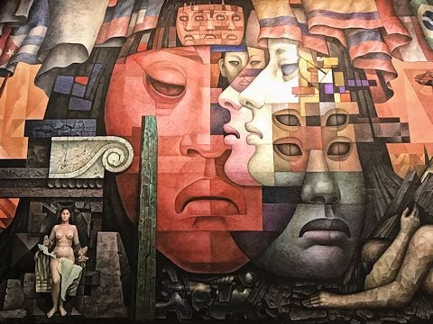 Excerpt of mural La Presencia de América Latina by Jorge González Camarena in La Casa del Arte, Concepción, Chile